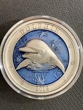 2019 Barbados $5 Dolphin *999 Mintage! High Relief & Beautiful Color!