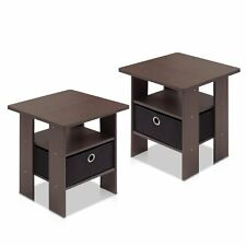 Dark Brown Bedroom Night Stand End Table 2 Pieces Corner Small Coffee Tables NEW