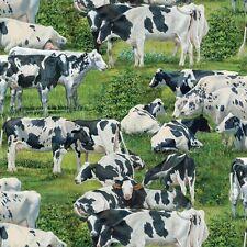 Fat Quarter Animal aventura Happy Vacas ganado costura algodón acolchada Tela