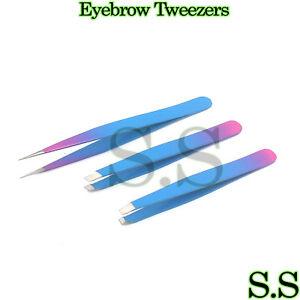 Eyebrow Tweezers Hair Tweezers Slanted Straight Pointy Set Of 3