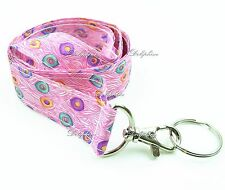 Peacock Fabric Neck LANYARD Keychain for Key / ID / Cell Phone Holder