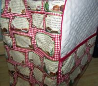 Recipe Cards Quilted Fabric Cover for KitchenAid Mixer NEW
