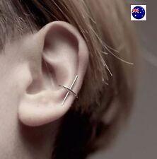 Women Lady Silver color Slim fine bar Cross look Party Ear clip side earrings
