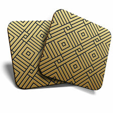2 x Coasters - Gold Geometric Pattern Art Deco Home Gift #12555