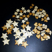 80 Mini Hearts and Stars For Embellishments,Card Making,Craft Shapes,MDF Mixed