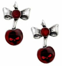 Alchemy England - Black Cherry, Earrings, Skulls, Gothic, Red, Punk Poison Gift