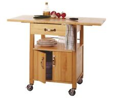 Drop Leaf Kitchen Cart Utility Butcher Block Island Rolling Storage Wood Cabinet