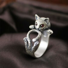 Women Boho Vintage Jewelry Kitty Cat Ring Animal Accessory Adjustable Knuckl 0p