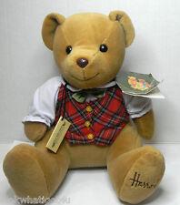 "Harrods Tartan Boy Plush bear 9"" seated Medium size Harrods International tag"