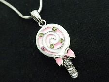 Lollipop Pendant Girls Women Austrian Crystal Necklace Silver Plated New