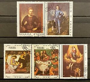 PANAMA - ART - LOT OF 5 USED STAMPS