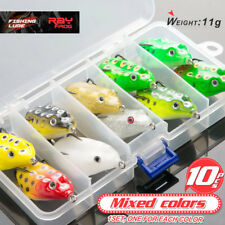 10Pcs Fishing Lures Box Kit Large Frog Topwater Crankbait Hooks Bass Bait Tackle