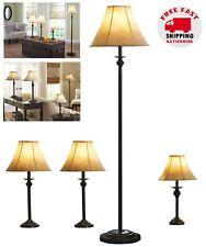 Lamp Set of 4 Living Room Floor Table Warm Light Bedroom Accent Shade Dark Brown
