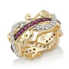 VICTORIA WIECK RUBY AND WHITE TOPAZ ETERNITY VERMEIL BAND RING SIZE 6 HSN