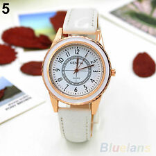Ladies Fashion Rose Gold Geneva Quartz White Faced White Band Wrist Watch.