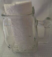 "Large glass handled tumbler pitcher stein mug says Jackpot 6"" sturdy solid"