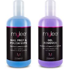 Mylee Nail Gel Polish Prep + And Wipe & Remover UV LED Manicure Acetone 2x250ml