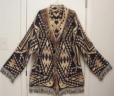 Vintage SOUTHWESTERN Tribal INDIAN Western FRINGED Blanket Sweater Coat L/XL