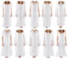 Ladies Long Victorian Style White Cotton Nightdress/Smocks With Plus Sizes