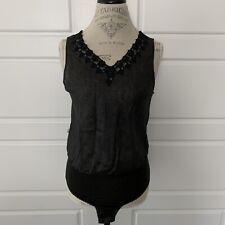 Christian Dior Black Lace Linen Stretch Cotton Teddy Leotard Bodysuit Snaps Med.