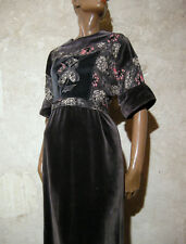 CHIC VINTAGE ROBE LONGUE VELOURS 1970 TRUE VTG MAXI DRESS VELVET 70s ( 36/38 )