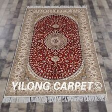 YILONG 4'x6' Silk Rug Handmade Living Room Medallion Red Carpet Y215C