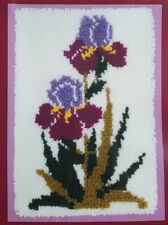 Heirloom Shillcraft Latch Hook Rug Wall Hanging Kit Double Bloom Irises Flowers