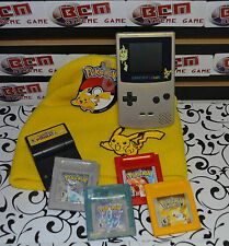 Pokemon Gold/ Silver GBC Console Pikachu Edition + 5 Genuine Pokemon Games