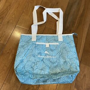 "NEW! Tommy Bahama Cooler Tote Insulated Bag Turquoise Blue White 13""x17"""