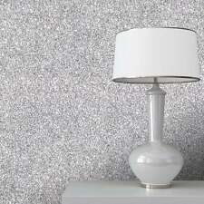 10M Sparkling Silver Glitter Plain Feature Wallpaper Glamour Glitz Bug NT FM
