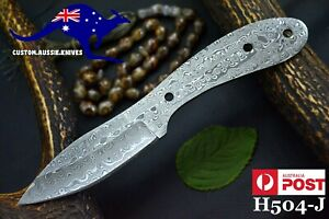 Custom Hand Forged Damascus Steel Blank Blade Hunting Knife Handmade (H504-J)