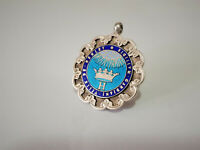 ANTIQUE STERLING SILVER & ENAMEL POCKET WATCH FOB MEDAL