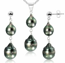 Sterling Silver 8-12mm Black Off Shape Tahitian Cultured Pearl Pendant and St...