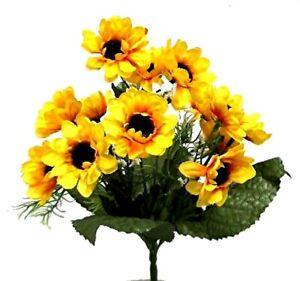 14 Mini Artificial Sunflowers Fake Silk Flower Bouquet Table Centerpiece Wedding