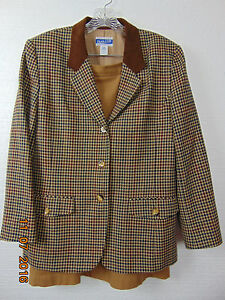 PENDLETON SUIT VINTAGE BROWN Plaid Checked WOOL LENGTH SKIRTAND JACKET SIZE 12