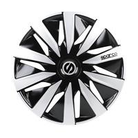 """4 Copricerchi auto universali SPARCO mod LAZIO borchie 15"""" nero e silver in ABS"""