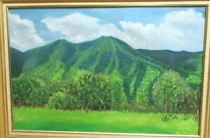 O CAMPOS S. ORIGINAL OIL ON CANVAS MOUNTAIN LANDSCAPE PAINTING