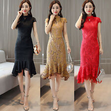 2018 Retro Formal Slim Lace Fishtail Dress Party Prom Cocktail Wedding Cheongsam