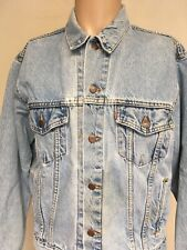 VTG 80s LEVIS FADED DENIM TRUCKER JACKET Distressed USA MADE Red Tab M GRUNGE