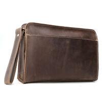 Vintage Men Real Leather Clutch Bag Business Case Handbag Wrist Wallet Purse