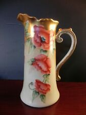 Vintage Porcelain Tankard/Pitcher 12 x 9 Hand Painted Austria Lots of Gold