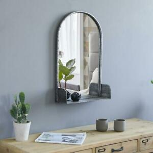 Arched Wall Mirror With Shelf Metal Frame for Living Room Bedroom Bathroom
