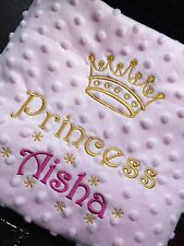 PERSONALISED Baby BLANKET Cot Pram PRINCE PRINCESS BOY GIRL Pink Blue New Gift