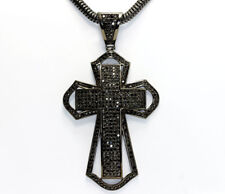 Antiqued Sterling Silver Black Cubic Zirconia Large Cross Snake Chain Necklace