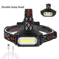COB T6 XPE LED Headlamp Rechargable Camping Night Light Rotating Work Lamp Torch
