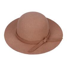 Warm Felt Beach Wide Brim Lady / Kid Girl Floppy Hat Bowler Derby Cloche Cap