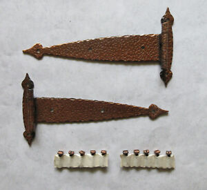 """Vtg. strap hinge flush copper hammered 6 1/2"""" overall  NOS door cabinet cupboard"""