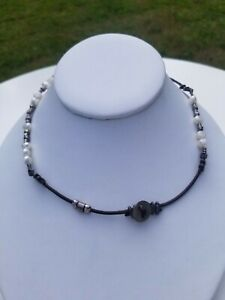 Silpada Sterling Silver & Pearl Brown Leather Necklace N1063