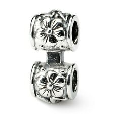 Floral Connector Bead .925 Sterling Silver Antique Finish Reflection Beads