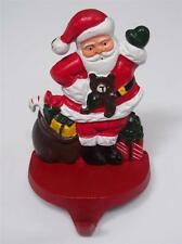 Waving Santa with Bag of Toys SOLID Cast Iron CHRISTMAS STOCKING HOLDER Hanger B